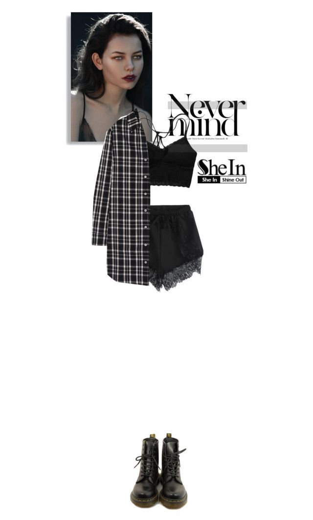 """""""sheinside"""" by cattrina-k ❤ liked on Polyvore featuring moda, Maje, Dr. Martens i shein"""