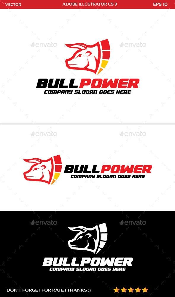 Bull Power Logo Animal Logo Design Template By Dickypanugerahaner