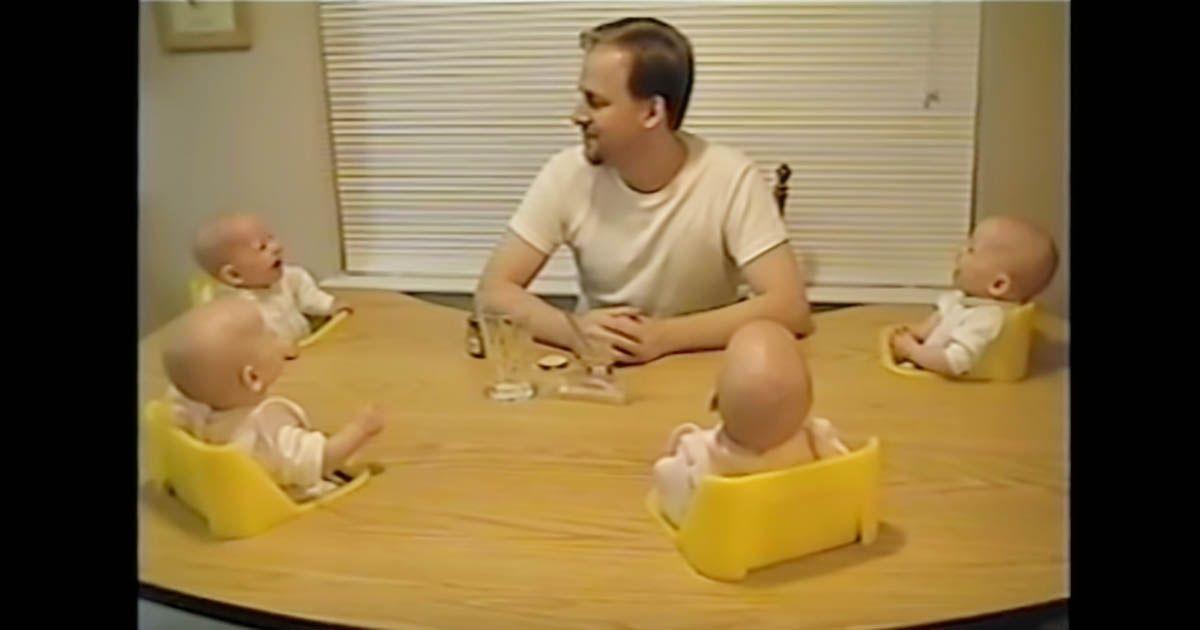 Dad makes quadruplets laugh