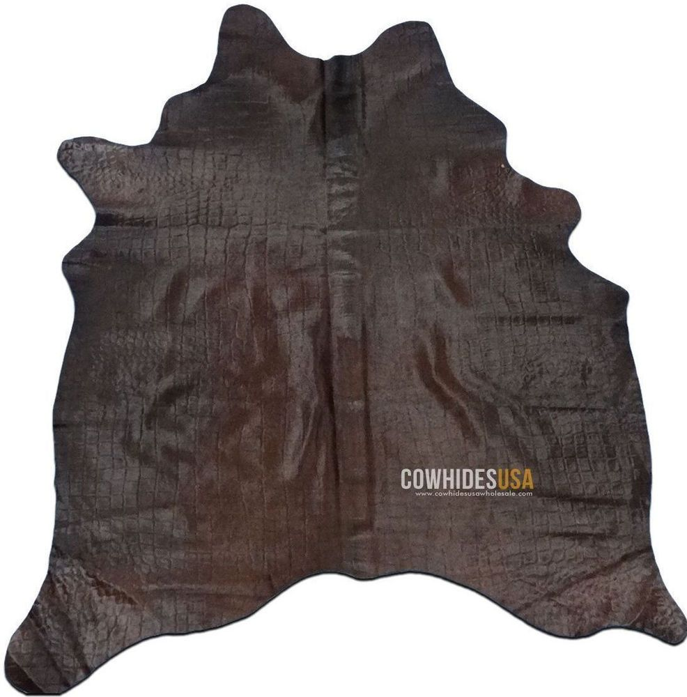 Dyed Chocolate Cowhide Rug Size 6 5 X 5 Embossed Crocodile Skin Design C 762 Deluxecowhides Contemp Cow Hide Rug Dark Brown Cowhide Rug Dark Brown Cowhide