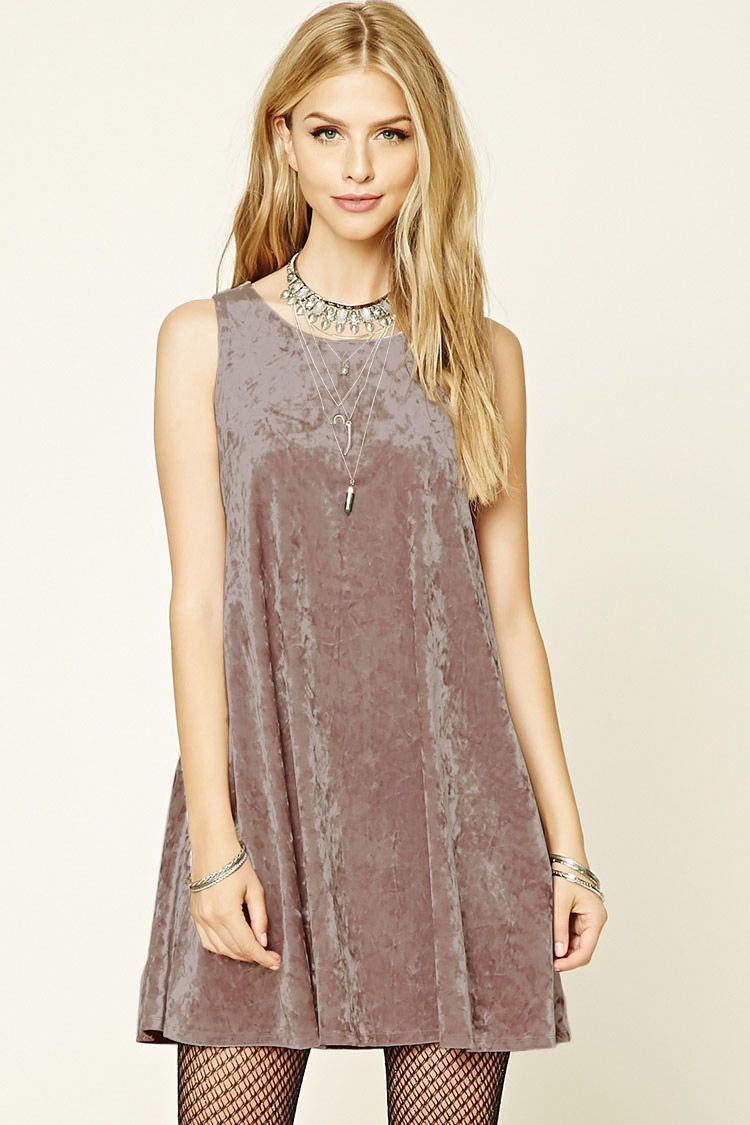 b3acb7579a8b Style Deals - A swing dress crafted from crushed velvet and featuring a  sleeveless cut and a round neckline.