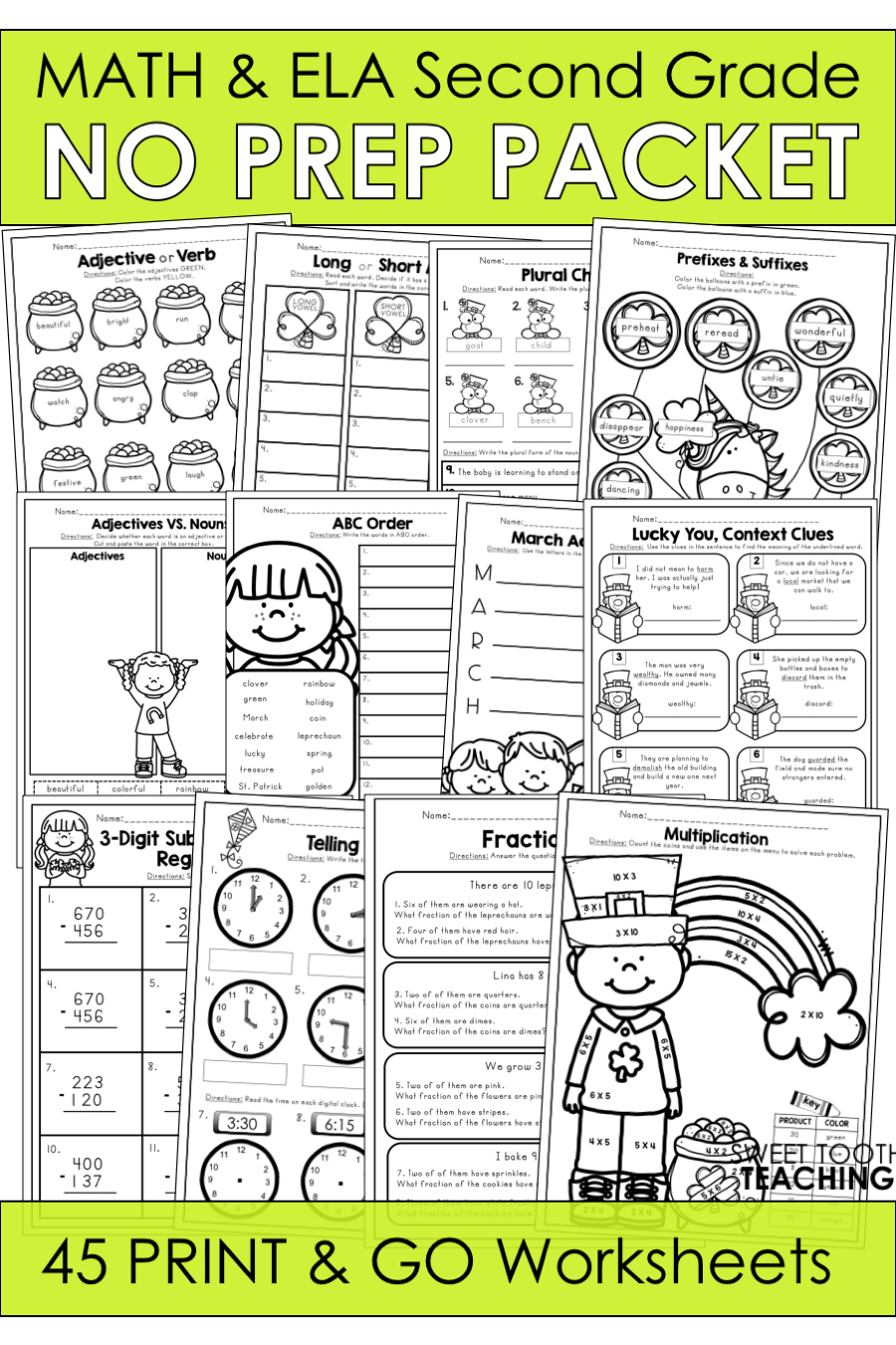 March No Prep Packet Second Grade Second Grade Elementary Worksheets Subtraction Word Problems [ 1350 x 900 Pixel ]
