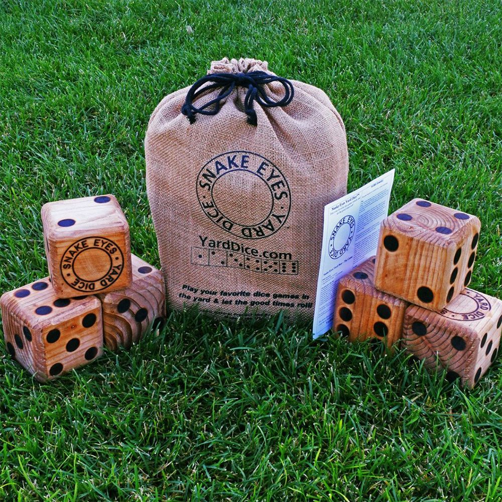 Snake Eyes Yard Dice and over 7,500 other quality toys at Fat Brain Toys. Start throwing things in the yard... but with this dice game, you can win at 10,000, Snake Eyes, Ship, Captain, Crew, or Whamee! Solid wood with natural finish, wood-burned dots, packed into a durable jute fiber drawstring bag. Dice measure 3.5 inches square.