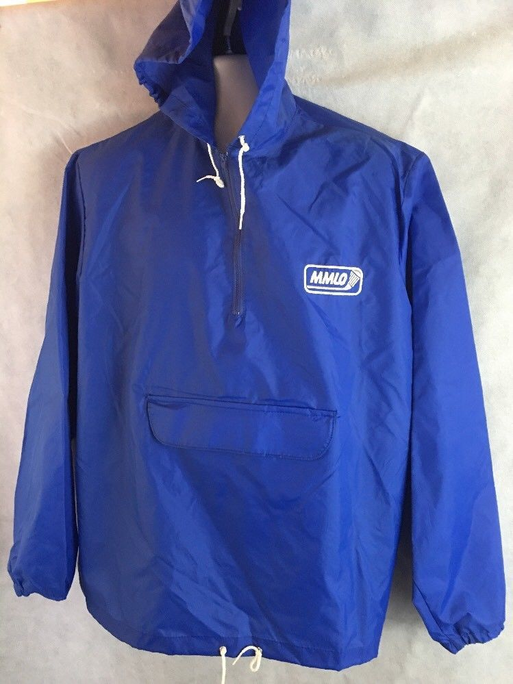 Sportsmaster Blue Pullover Hooded Rain Wind Jacket Size XL ...