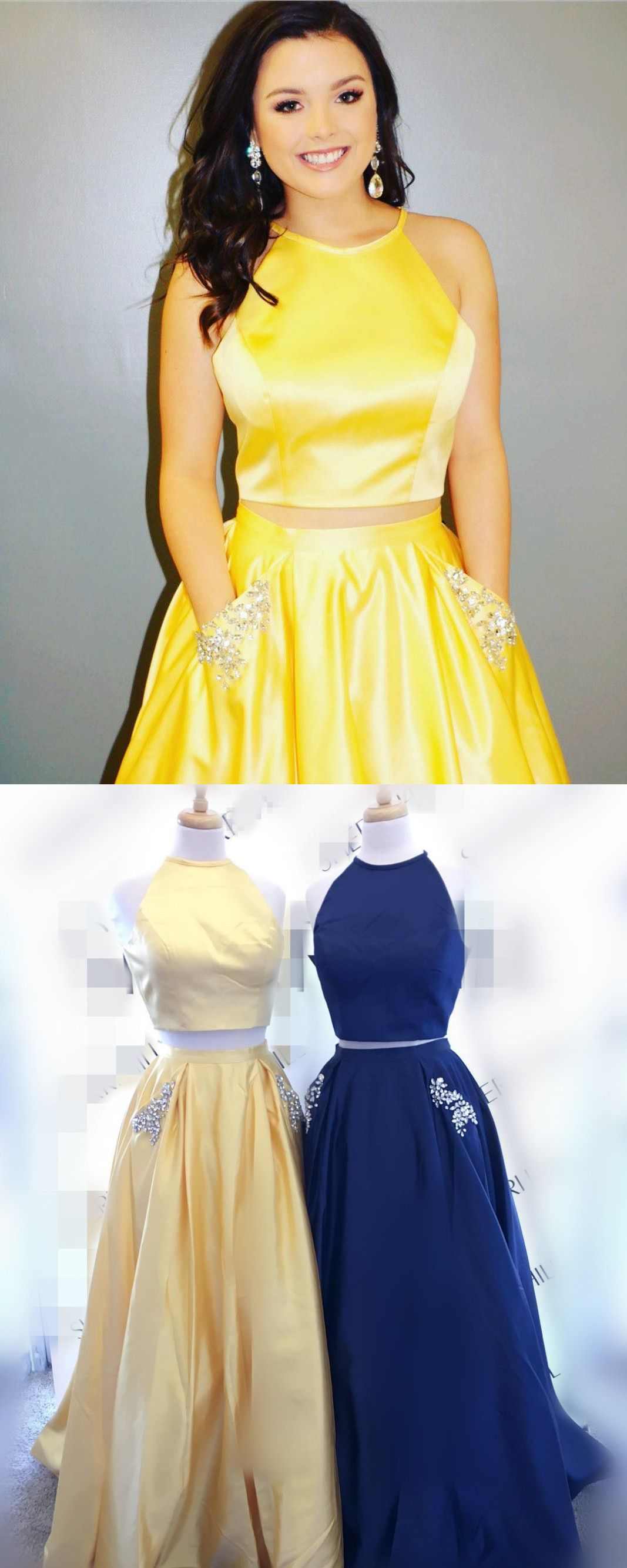 Elegant two piece yellow long prom dress with pockets from modsele