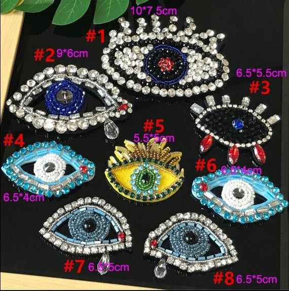 Fashion Beaded Medal Patch Iron On//Sew Clothes Badge Rhinestone Applique DIY