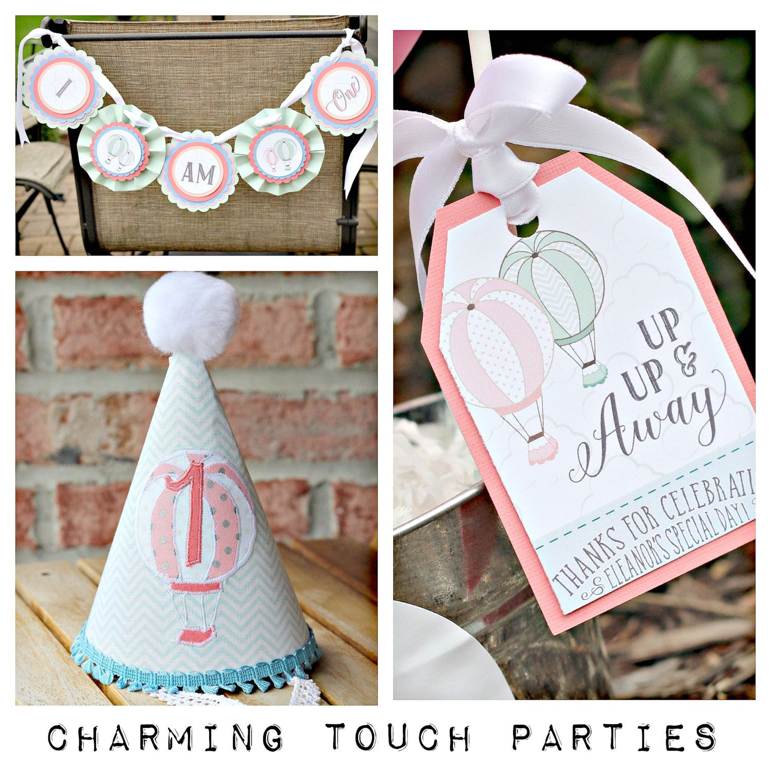 Up Up and Away Hot Air Balloon Party-In-A-Box by Charming Touch Parties. Pink, blue and coral and mint. Boutique 3 piece party pack. by CharmingTouchParties on Etsy