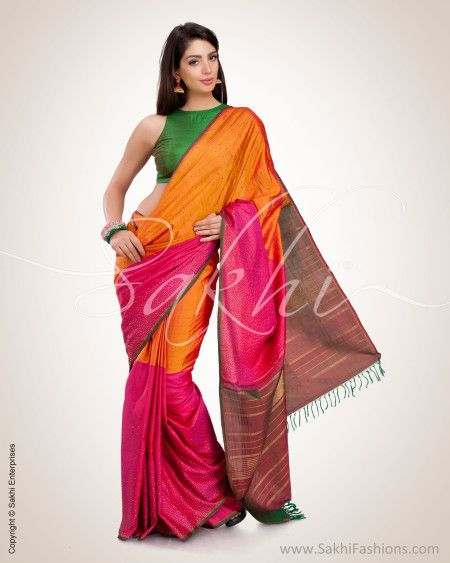 b5dcc8df20 Mustard & Pink Pure Kanchivaram Silk Saree | Sakhi Fashions | Sakhi Fashions