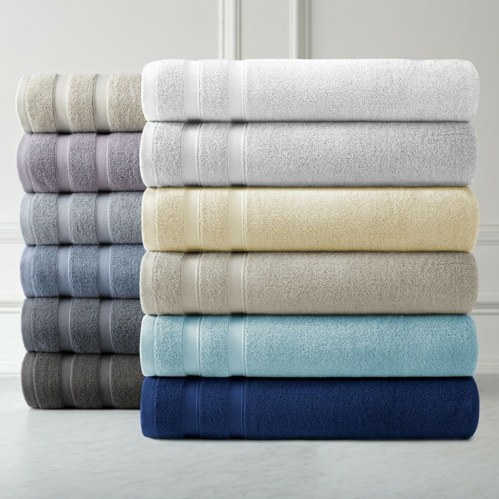 Classic Luxury 4 Piece Bath Towels 650 Gsm Combed Cotton Soft And