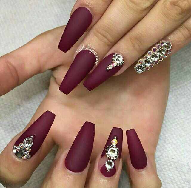 i like the dark red matte, Nail Colors, Coffin Acrylic Nails Long, Acrylic - I Like The Dark Red Matte, Manicures Uña Decoradas, Uña