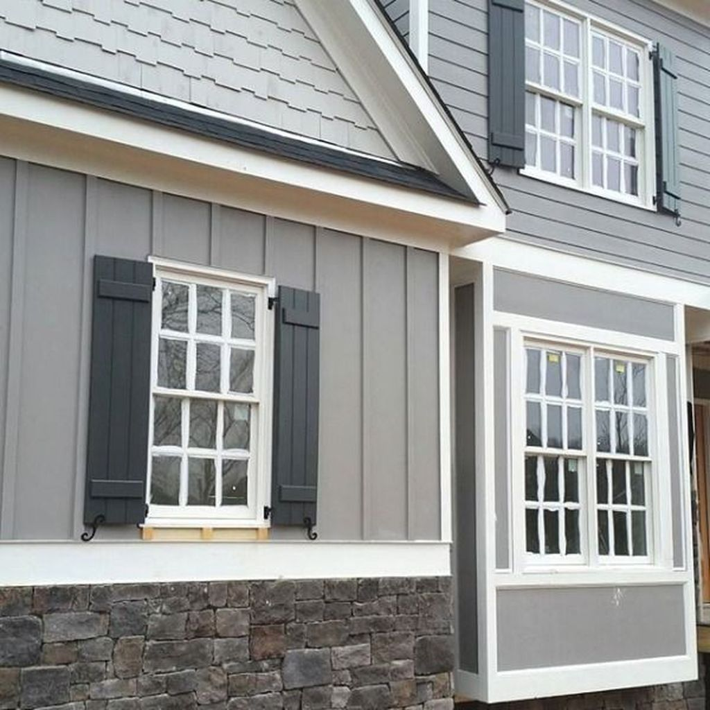Cool 47 Awesome Exterior Stone Ideas For Home Gray House Exterior Exterior Gray Paint Exterior Paint Colors For House