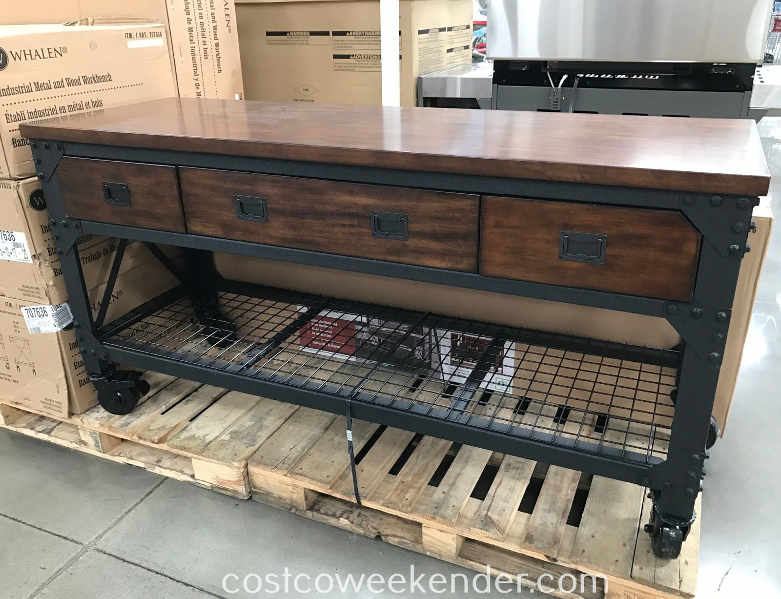 trendy whalen industrial metal and wood workbench item at costco with rangement garage costco. Black Bedroom Furniture Sets. Home Design Ideas