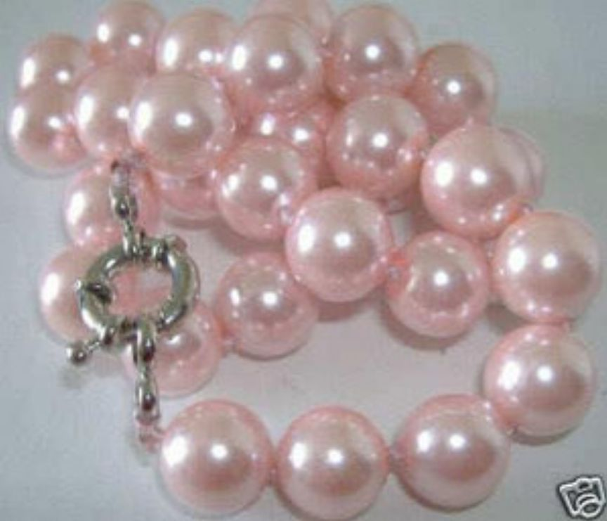 8mm White Pink Purple south sea shell pearl necklace 18/'/' AAA natural AAA