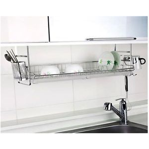 New Stainless Fixing Dish Drying Rack Single Shelf Sink Kitchen Organizer  | eBay