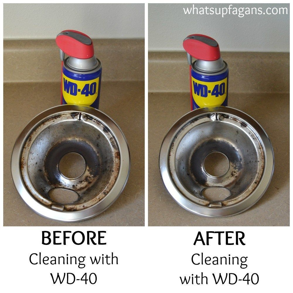 Before and after cleaning stove drip pans with wd40