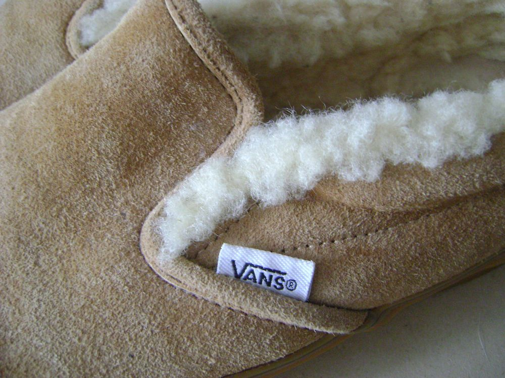 3d39a165a7d203 Vans Suede Tan Leather Sherpa Lined Slip Ons Shoes mens size 8 womens 9.5  Skater  VANS  LoafersSlipOns