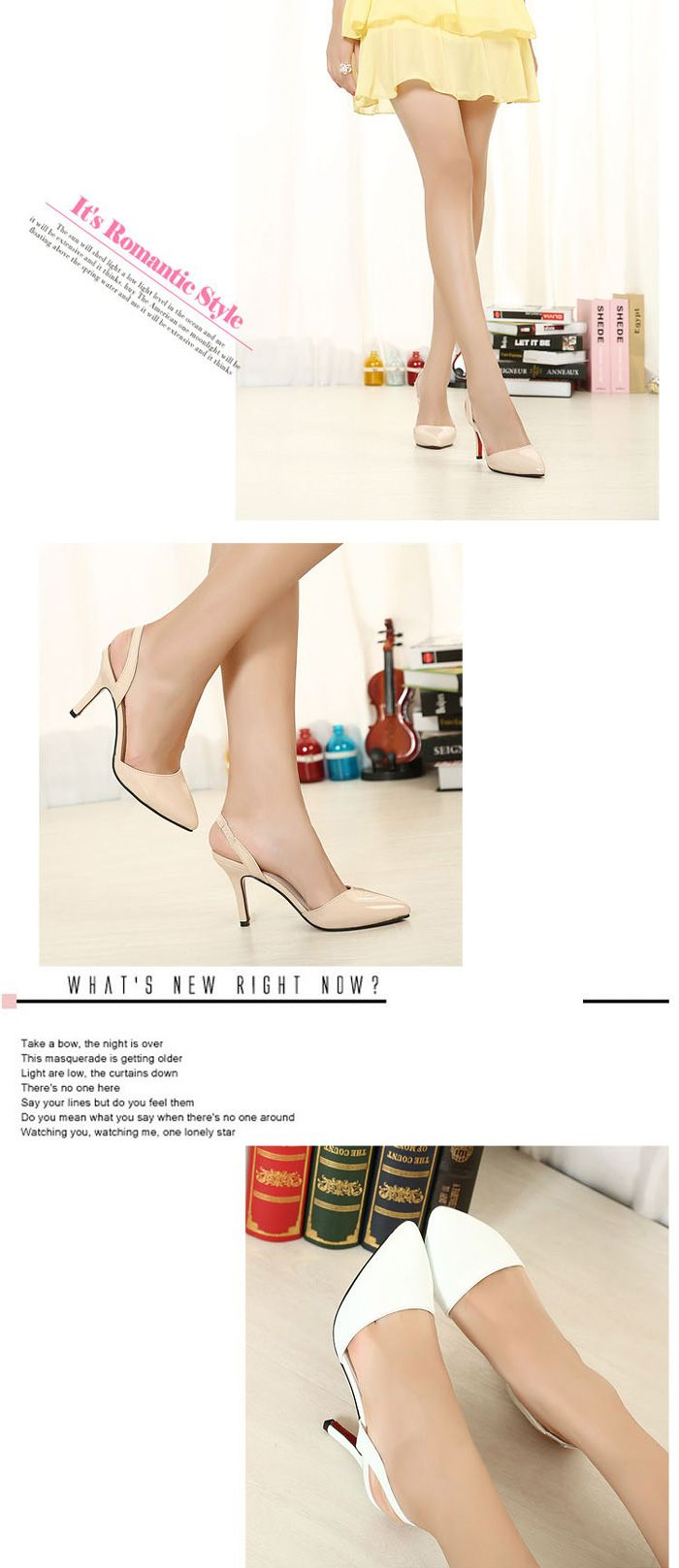 Elegant Style Pointed Toe Sling Back Low-Heel Shoes For Women, Shop online  for