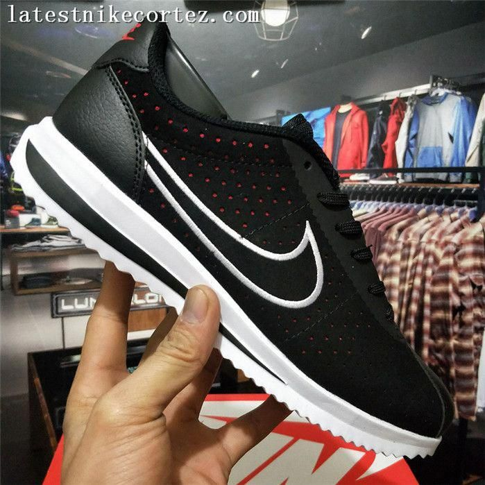 c35abd39df4c Special Nike Classic Cortez Punching Mens Sports Shoes Black White Red Suede