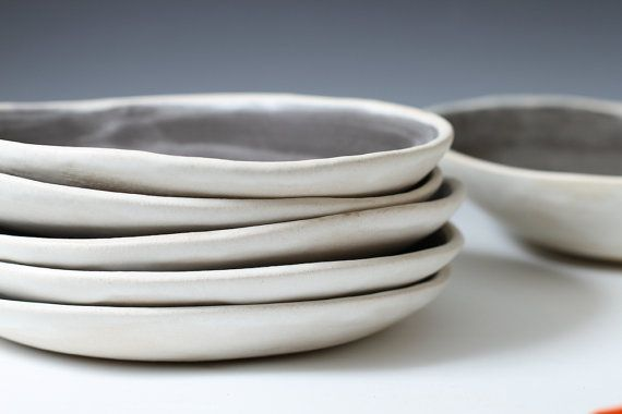 Sale 8.6 Charcoal and White Stoneware Shallow Bowls - Pottery Plates handmade ceramic plates - inidual or set - ready to ship via Etsy & 8.6