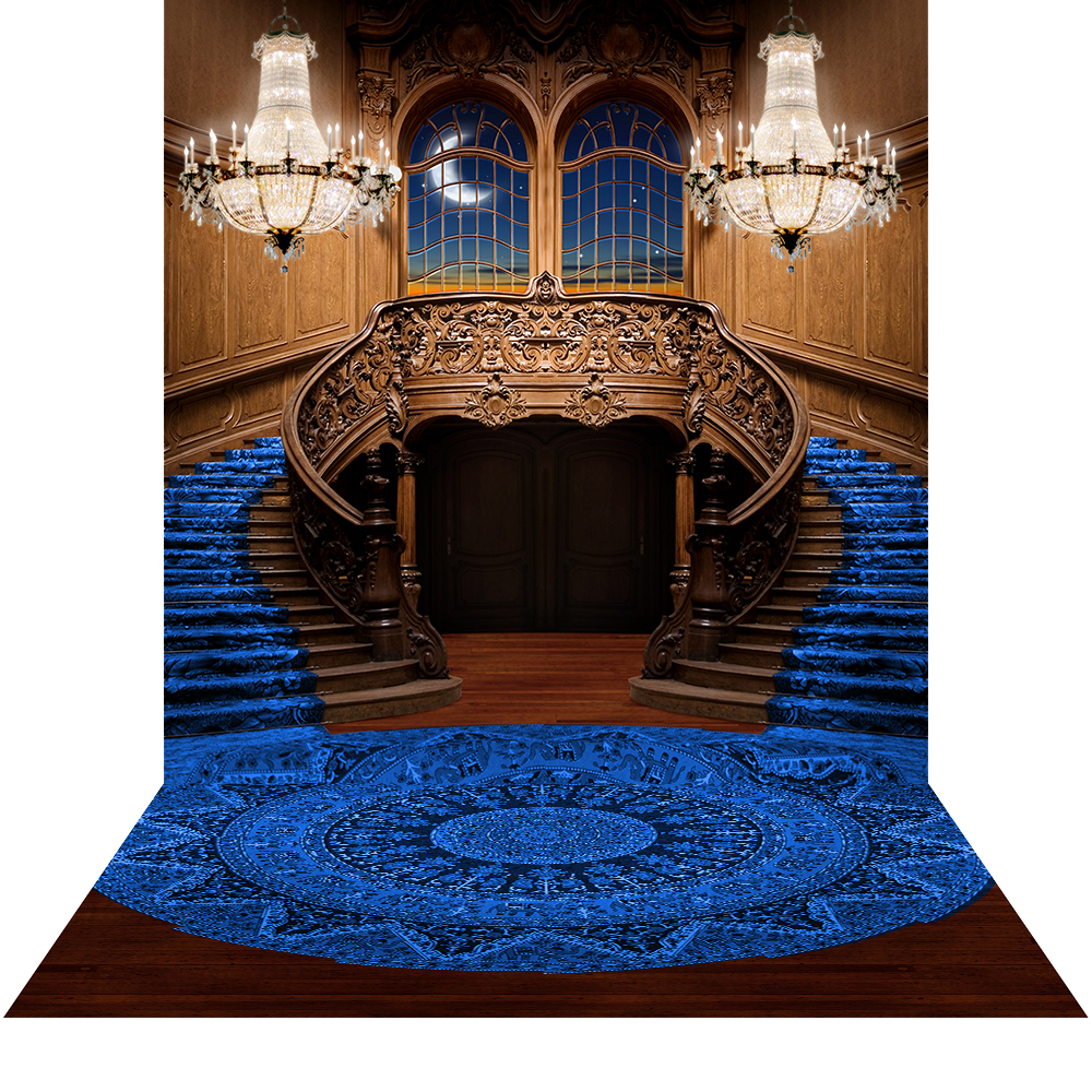 Double Staircase Royal Blue  10x20 Photography Backdrop
