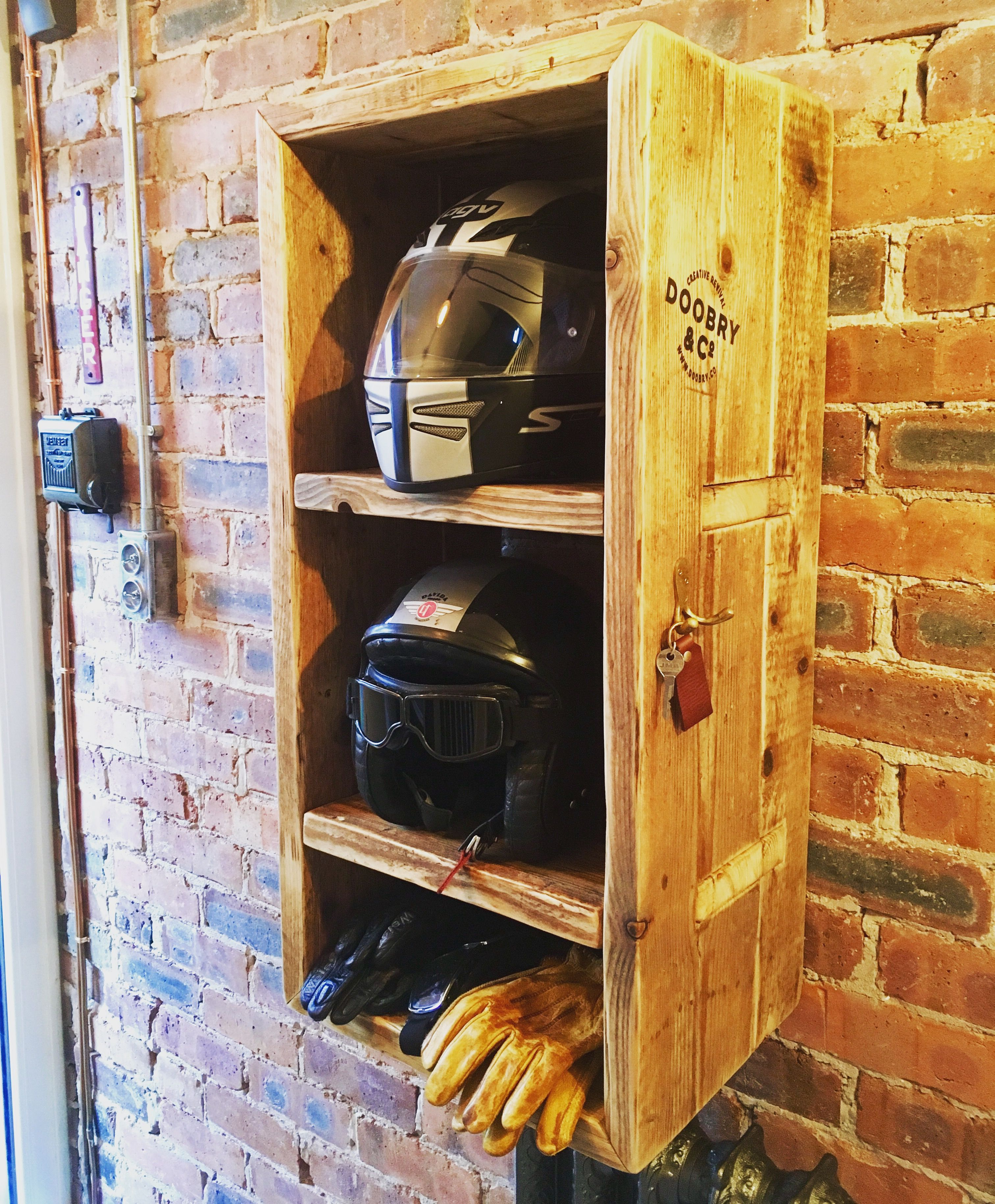 Compartments For Helmets 1 For Gloves Etc With Antique Brass Key Hooks Man Cave Garage Bike Garage Decor Motorcycle Diy Helmet Storage