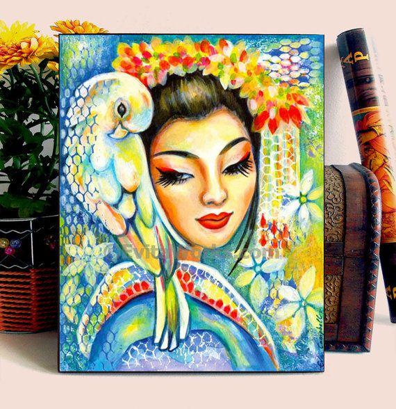 Geisha Japanese Bird Parrot Girl Woman Painting, home decor wall ...