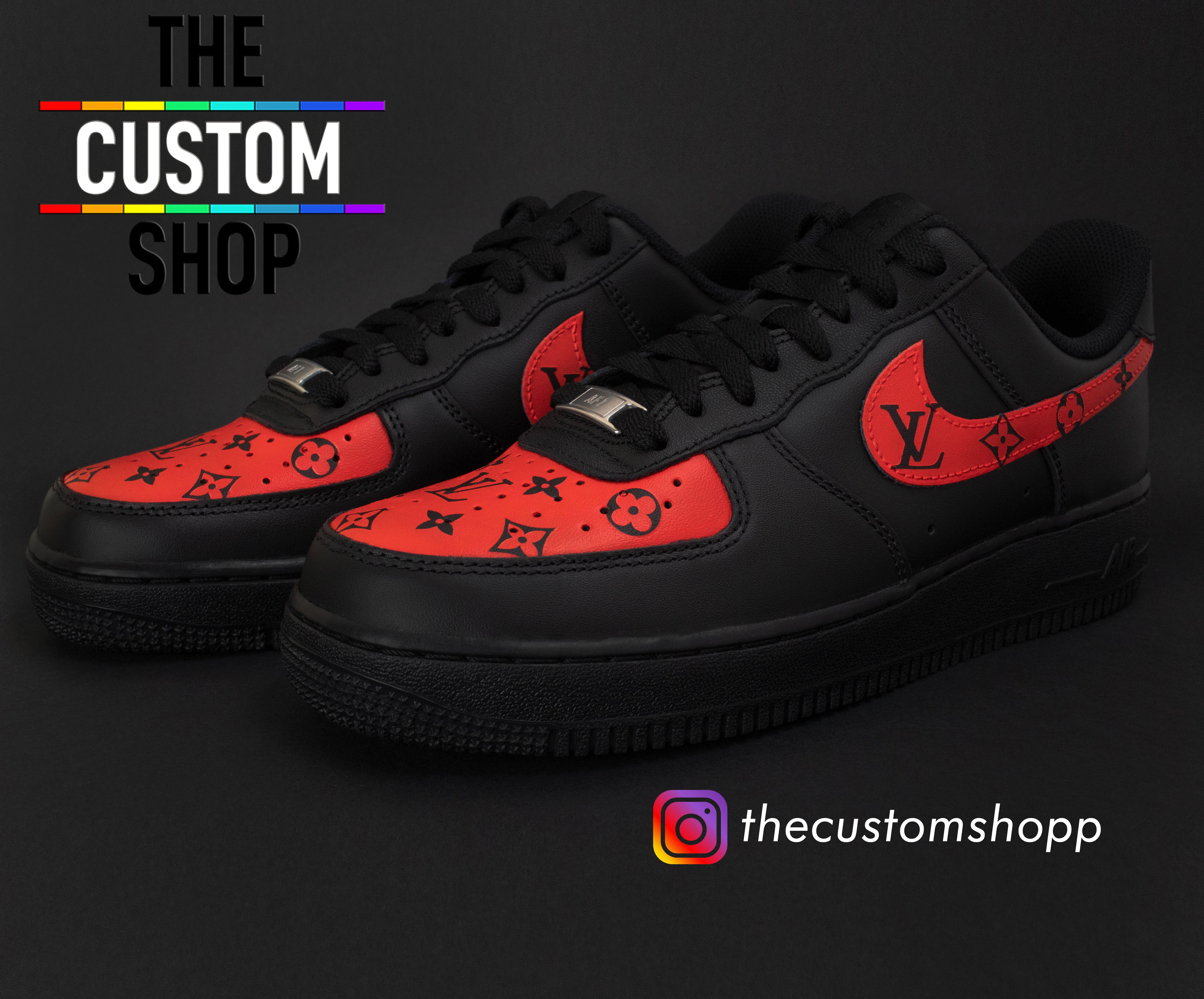 on sale 56678 0c5d4 Air Force 1 s - Louis Vuitton (Red) ❤ Buy Now on Etsy and Website! 🚛