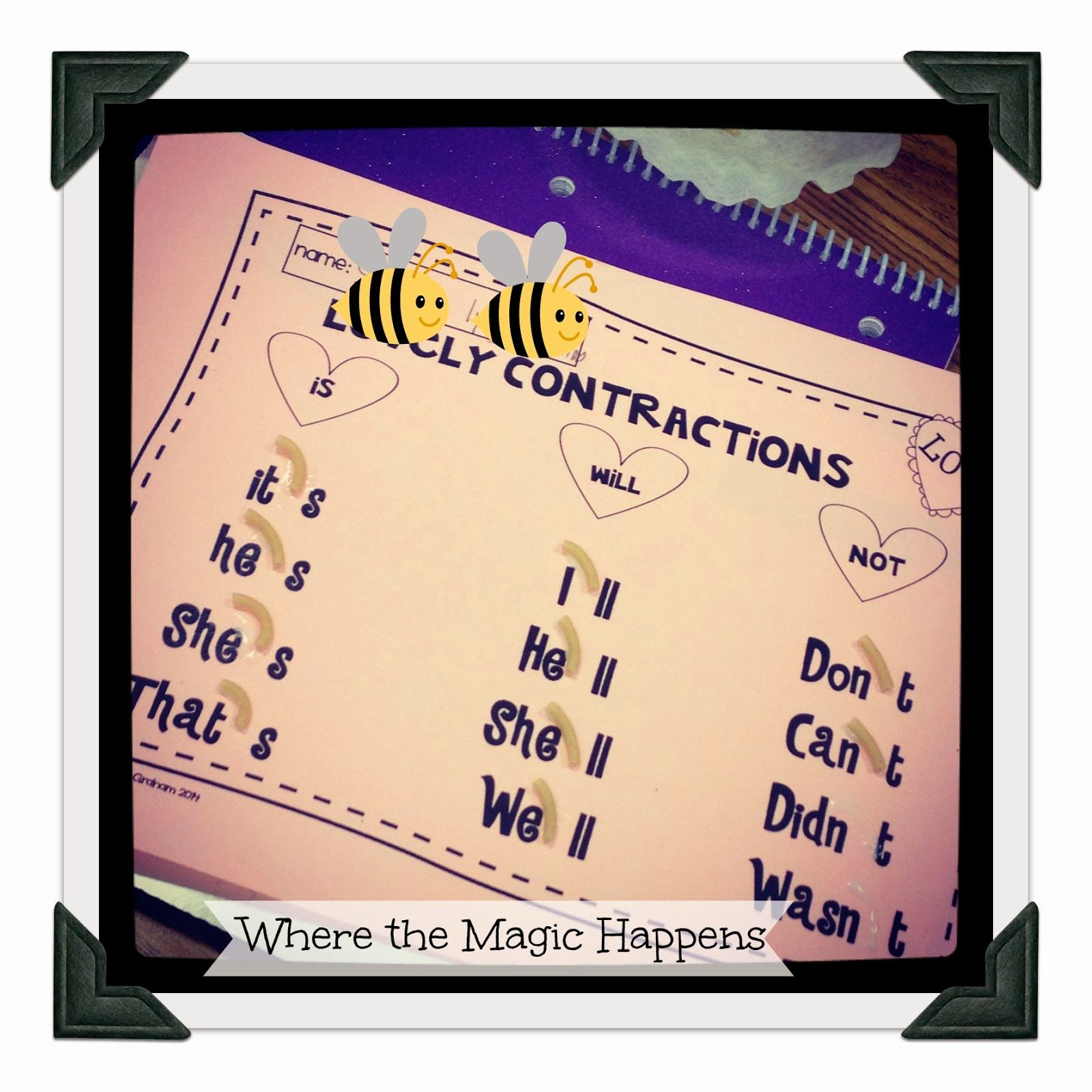 Contractions Practice With Macaroni Noodle Apostrophes