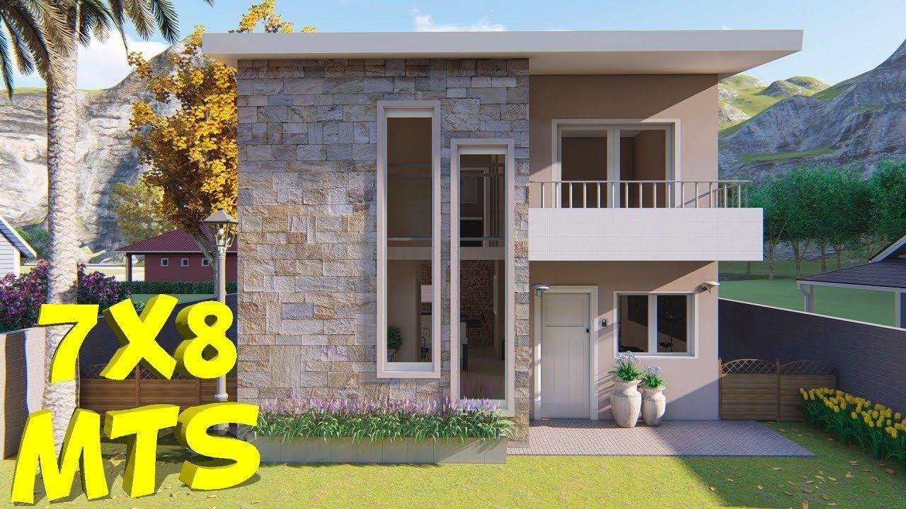 Casa Duplex 7x8m Con 3 Dormitorios 7x8 House Plans Youtube Casas De Dos Pisos Modelos De Casas Sencillas Diseno De Casas Sencillas
