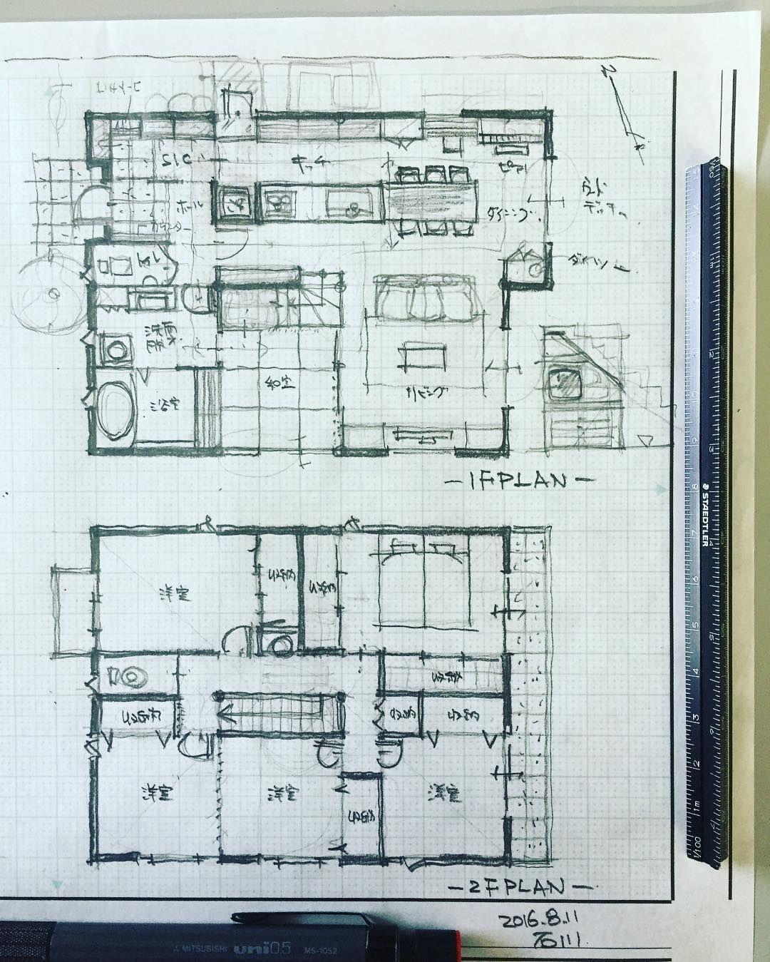 42坪の6人家族の住まい 間取り 間取り図 注文住宅 設計 設計士 建築