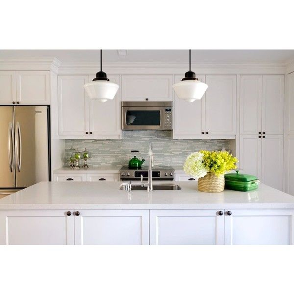 Kitchens Schoolhouse Pendants Oil Rubbed Bronze S White Shaker Kitchen Cabinets Blue Gray Linear Gl Subway Tiles Backsplash Sink In Island