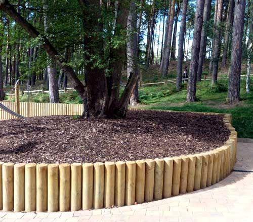 round pole retaining walls - Google Search | garden design ...
