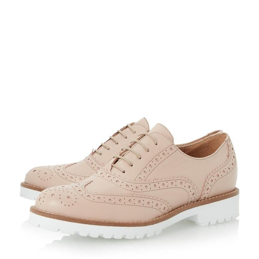 f4be43ae45423 FAWNA - White Cleated Sole Leather Brogue Shoe - blush | Dune London ...