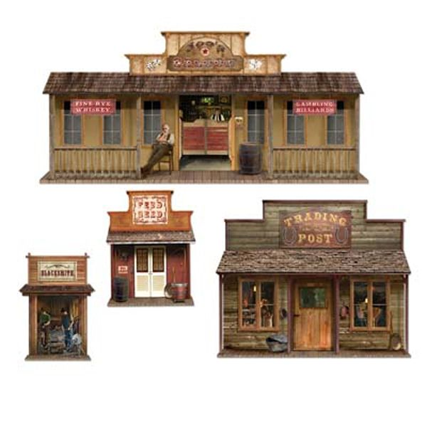 Great old western town elements old western town house