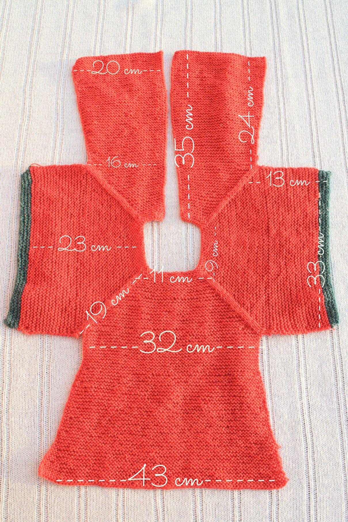 medidas patrón chaqueta punto niña talla 2 | Tricô e Crochê ...