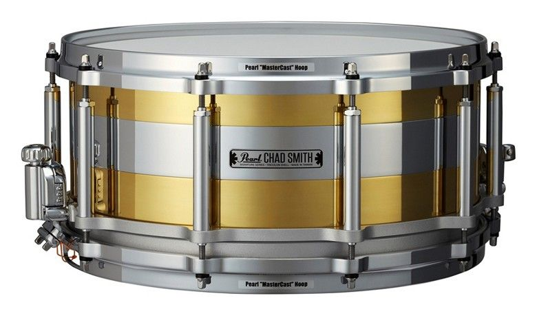 Chad Smith Tricolon Free Floater Signature Snare by Pearl - great sounding snare being both very sensitive and powerful due to it's unique shell construction made of brass and metal