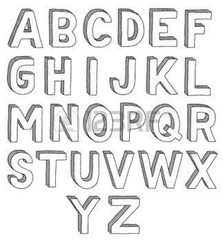 Stock Vector Lettering Alphabet Drawing Letters Block Letter Fonts