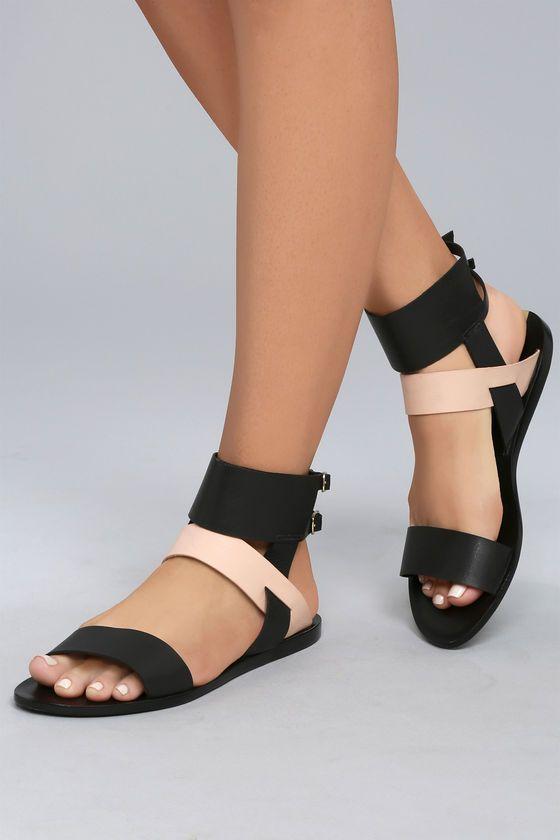 795efb830 Kaanas Prainha Black Leather Ankle Strap Sandals