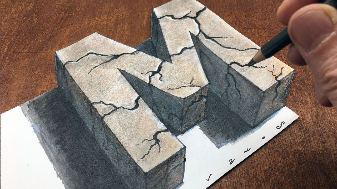 How To Draw Stone Letter M Drawing With Charcoal Pencil And Marker B Drawings 3d Art Drawing Colored Pencil Tutorial