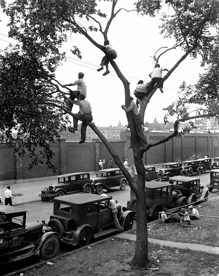 "This would be me if we make the World Series!!Wrigley Field 1935 The original ""Roof top seats"""