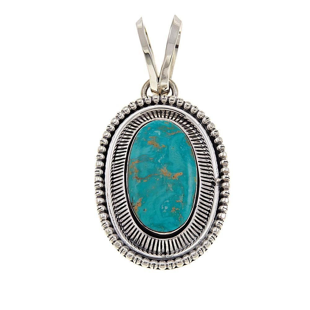 4a163ca46fd16 Chaco Canyon Oval Green Turquoise Sterling Silver Pendant - 8790972 ...