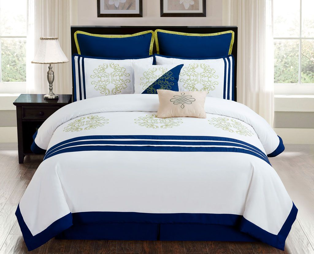8 Piece Cal King Karessa Navy White Comforter Set