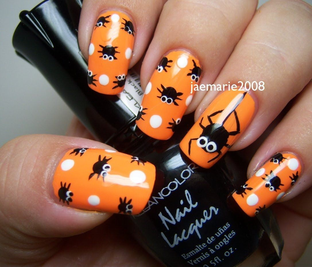 halloween nail design polka dot spiders super cute might have to try - Pumpkin Nail Design Halloween