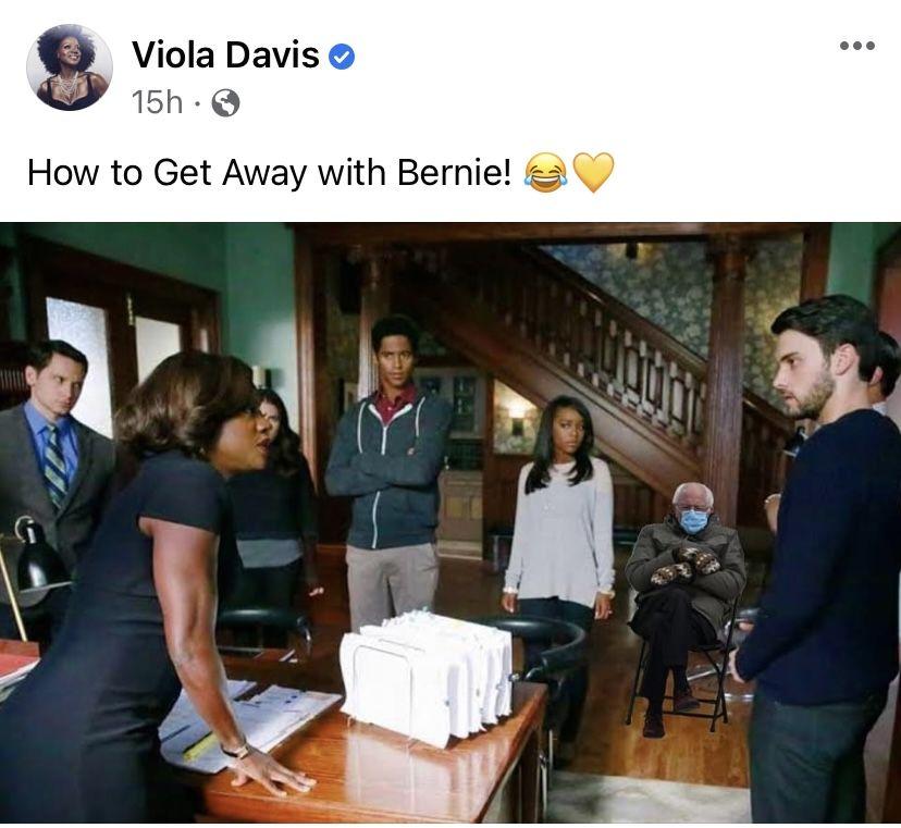 Pin By Kathy Spies On Bernie Mittens Sanders Memes In 2021 How To Get Away Viola Davis Talk Show