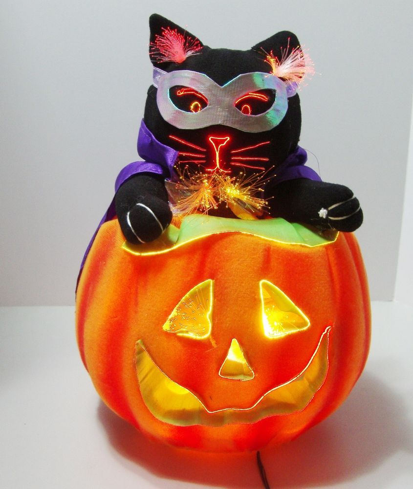 Fiber Optic Lighted Black Cat In Jack O Lantern Halloween