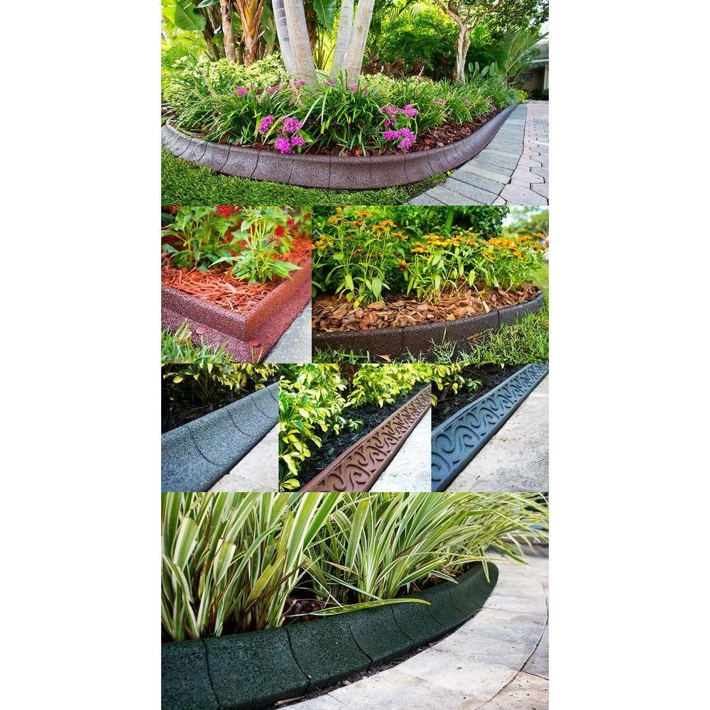 Ecoborder 4 Ft Grey Rubber Curb Landscape Edging 4 Pack