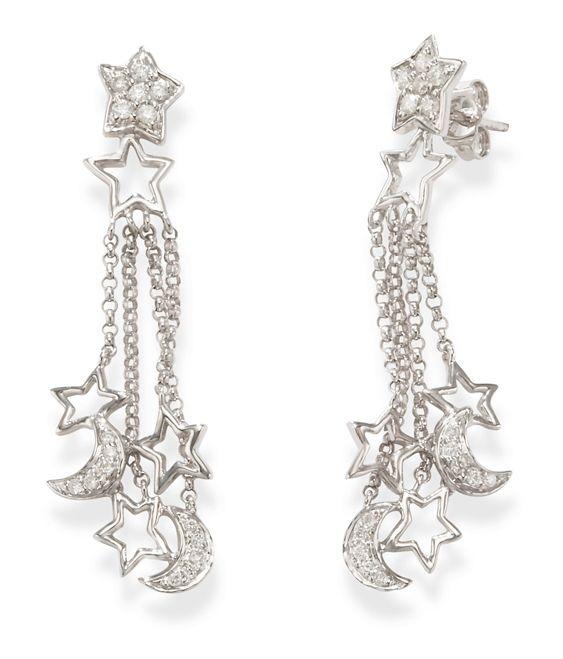 79b70d157 Dangling 14k White Gold Diamond Star and Moon Earrings | Dangle ...