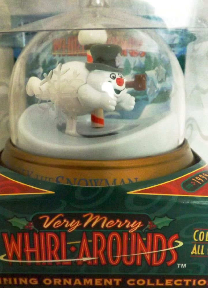 1999 Blockbuster Very Merry Whirl-Arounds Spinning Ornament FROSTY SNOWMAN XMAS