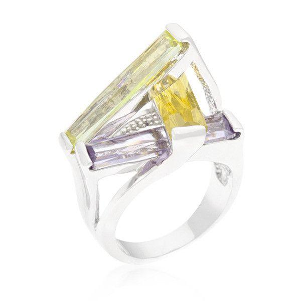 Cristina 10ct Multicolor White Gold Rhodium Statement Crystalline Ring