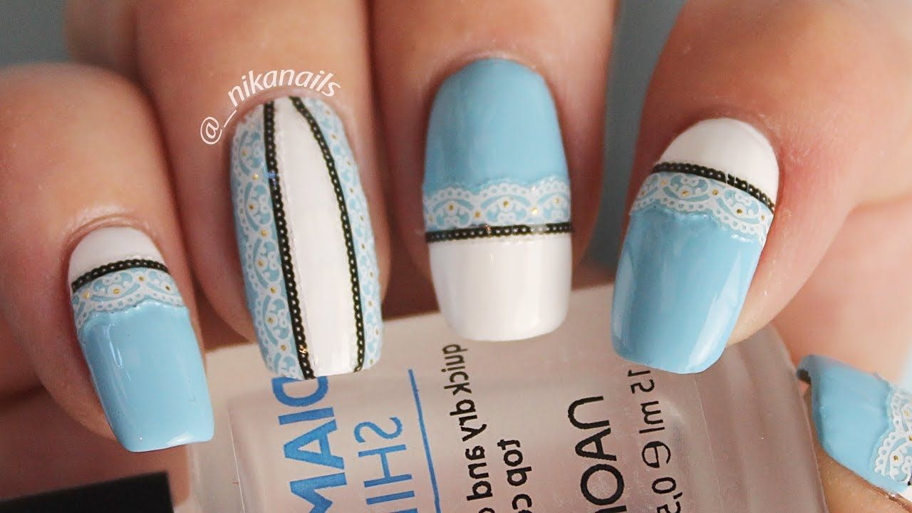 Easy Lace Nails Design Tutorial | DIY Blue Lace Nails | Nail Art ...